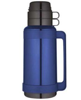 Modrá termoska na kávu nebo čaj se skleněným vnitřkem a dvěma šálky.